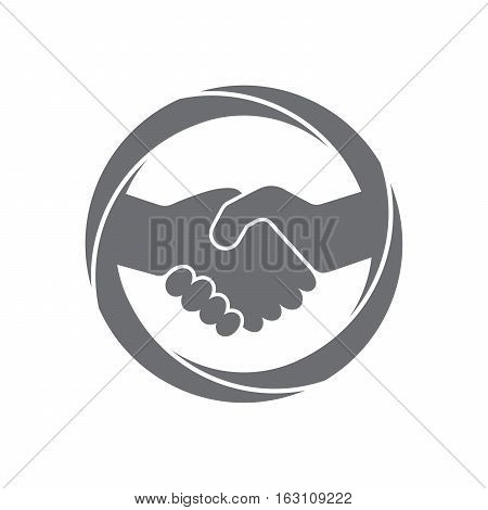 Abstract gray handshake icon. Handshake sign in the circle on white background. Vector illustration.