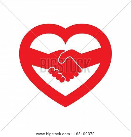 Abstract red handshake icon. Handshake sign inside in the heart on white background. Vector illustration.