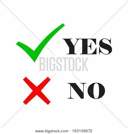 Yes and No check marks. Vector illustration. Red and gray check marks with text on a white background.