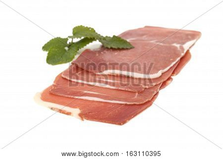 Closeup On A Piece Of Spanish Serrano Ham