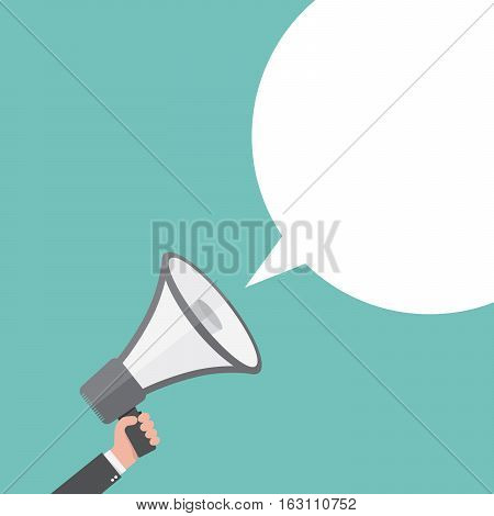 Loudspeaker or megaphone icon. Gray megaphone in hand with speech bubble on colored background. Vector illustration.