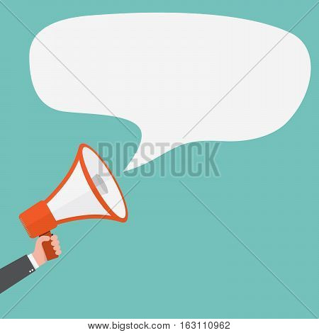 Loudspeaker or megaphone icon. Red megaphone in hand with speech bubble on colored background. Vector illustration.