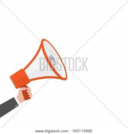 Loudspeaker or megaphone icon. Red megaphone in hand isolated on white background. Vector illustration.