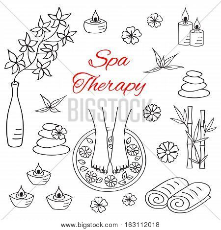 Spa woman feet in bowl with water flowers. Spa treatment hand drawn doodle icons.
