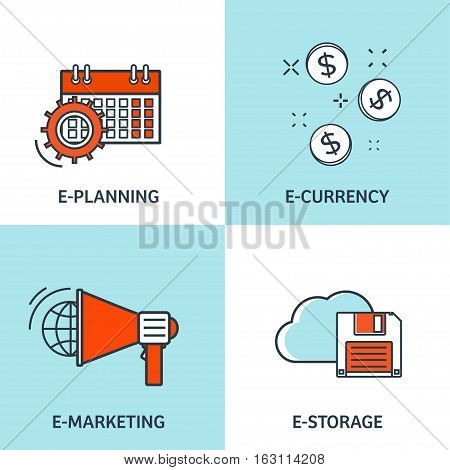 Vector illustration. Set of flat backgrounds with lined borders. Internet browsing, e-currency. Web surfing, global communication. Storage, database. Marketing.