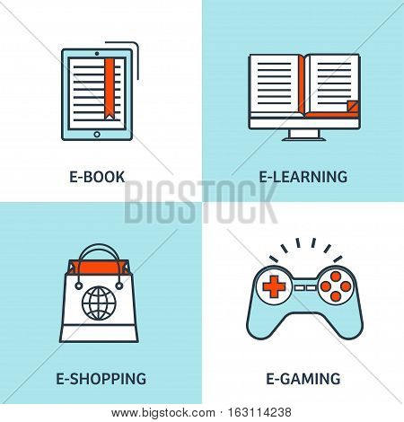 Vector illustration. Set of flat backgrounds with lined borders. Internet browsing, app development. Web surfing, gaming, global communication. Storage, database. Online shopping.