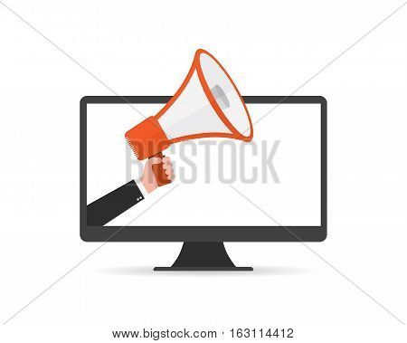 Loudspeaker or megaphone in the male hand coming out from screen of monitor. Red megaphone and monitor isolated on white background. Vector illustration.