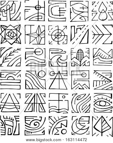 Hand drawn vector illustration or drawing of different abstract indigenous symbols