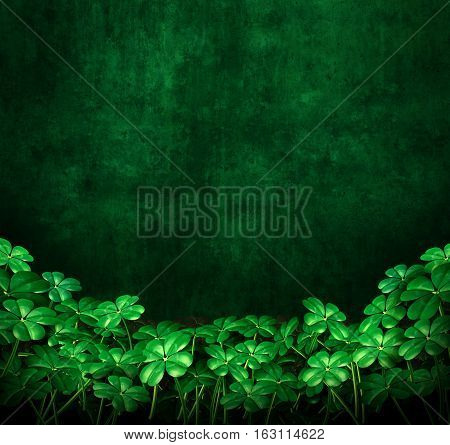 Clover green grunge background with four leaf clovers with copyspace as a symbol for saint patrick or Irish celebration as a 3D illustration.