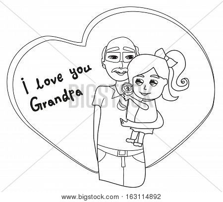 I love you Grandpa card , doodle illustration