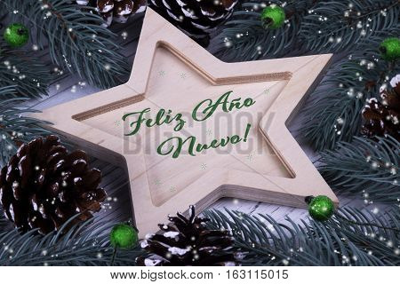 Happy New Year Greeting Card With Text Feliz Ano Nuevo, Spanish
