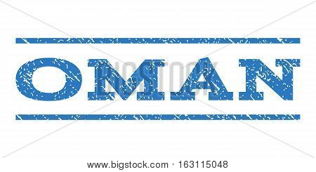 Oman watermark stamp. Text caption between horizontal parallel lines with grunge design style. Rubber seal stamp with dirty texture. Vector smooth blue color ink imprint on a white background.