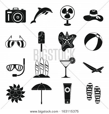 Summer rest icons set. Simple illustration of 16 summer rest vector icons for web