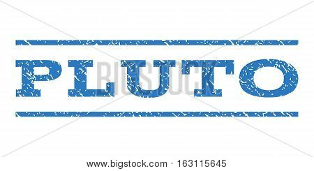 Pluto watermark stamp. Text caption between horizontal parallel lines with grunge design style. Rubber seal stamp with dust texture. Vector smooth blue color ink imprint on a white background.