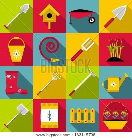 Gardener tools set. Flat illustration of 16 gardener tools vector icons for web