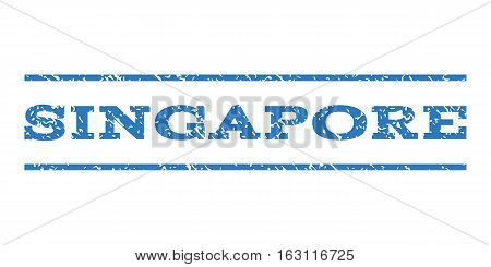 Singapore watermark stamp. Text tag between horizontal parallel lines with grunge design style. Rubber seal stamp with dust texture. Vector smooth blue color ink imprint on a white background.