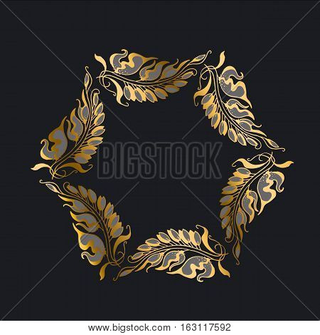 gold on black Art Nouveau style vector illustration
