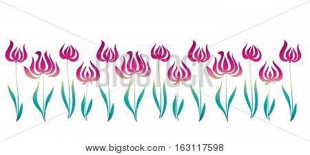 elegant vector illustration. pink decorative style tulip line