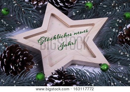 Holiday Greeting Card With Text Happy New Year In German