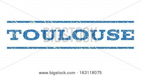 Toulouse watermark stamp. Text tag between horizontal parallel lines with grunge design style. Rubber seal stamp with unclean texture. Vector smooth blue color ink imprint on a white background.