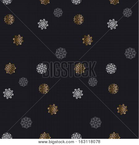 Christmas backdrop. Winter pattern. Season vector illustration. elegant fancy light Snowflake motif. Flake of snow seamless pattern. Snow geometry background. Xmas background.