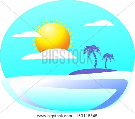 Inviting a mysterious tropical island on the other side illuminates the summer sun in the clouds. Colorful seascape