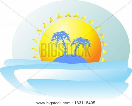Paradise Island with two palm trees in the background of the huge alluring sun encourages tourists to the sea