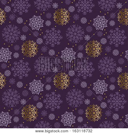 Christmas snowflakes seamless pattern. violet color background snow seamless geometry modern fabric sample. geometric pattern swatch vector illustration
