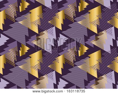 Christmas tree seamless modern pattern. Rich violet color background geometry arrow seamless fabric sample. geometric pattern swatch vector illustration