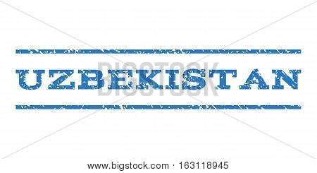 Uzbekistan watermark stamp. Text caption between horizontal parallel lines with grunge design style. Rubber seal stamp with dust texture. Vector smooth blue color ink imprint on a white background.