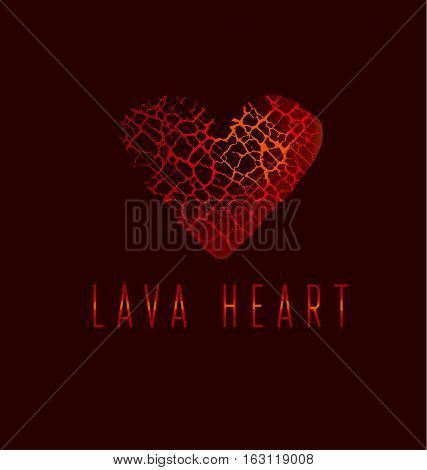 love icon concept. abstract broken heart symbol. red hot love passion icon. concept vector illustration for poster or cover. cracelure texture pattern in heart shape