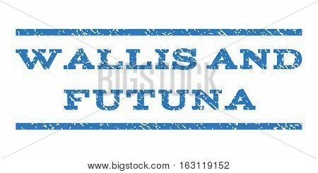 Wallis and Futuna watermark stamp. Text tag between horizontal parallel lines with grunge design style. Rubber seal stamp with scratched texture.