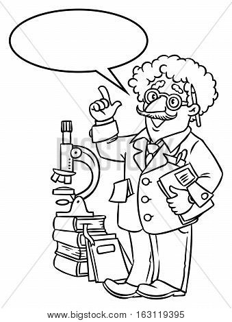 Coloring picture of funny scientist or inventor. An old man in glasses with books, folders and microscope raised index finger. Profession series. Childrens vector illustration.