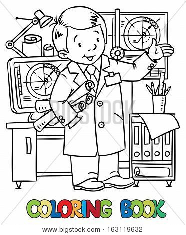 Coloring picture of funny engineer or inventor. A man in coat with drawings showing by hand. Profession series. Childrens vector illustration.