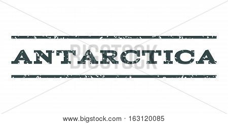 Antarctica watermark stamp. Text tag between horizontal parallel lines with grunge design style. Rubber seal stamp with dust texture. Vector soft blue color ink imprint on a white background.