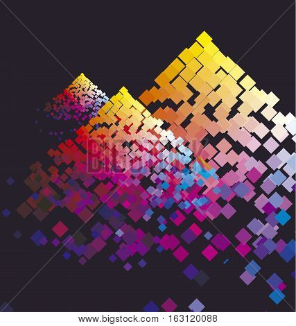 Modern colorful composition with color square. Dynamic vivid bright motif. Rainbow color factive vector illustration.