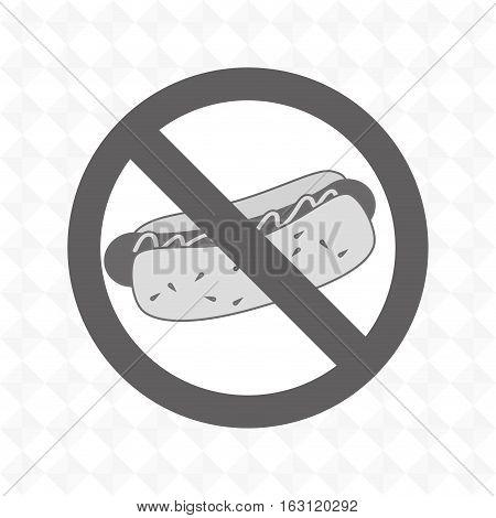 hot dog fast food unhealth prohibited vector illustration eps 10