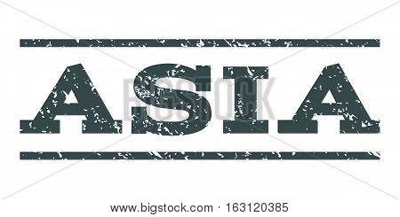 Asia watermark stamp. Text tag between horizontal parallel lines with grunge design style. Rubber seal stamp with dust texture. Vector soft blue color ink imprint on a white background.