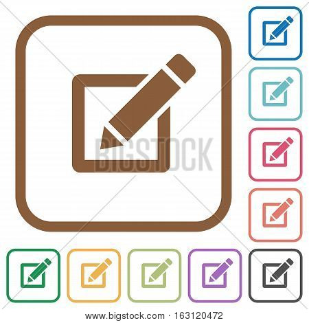 Editor simple icons in color rounded square frames on white background