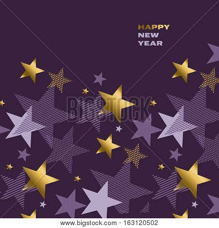 concept abstract starry night vector illustration. modern style factive star pattern. luxury purple violet color background image. gold star graceful invitation motif