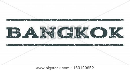 Bangkok watermark stamp. Text caption between horizontal parallel lines with grunge design style. Rubber seal stamp with unclean texture. Vector soft blue color ink imprint on a white background.