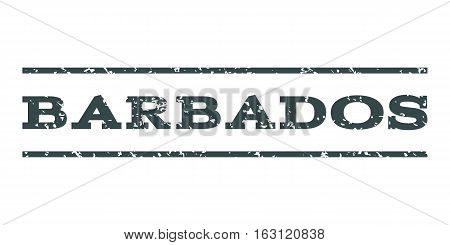 Barbados watermark stamp. Text tag between horizontal parallel lines with grunge design style. Rubber seal stamp with scratched texture. Vector soft blue color ink imprint on a white background.