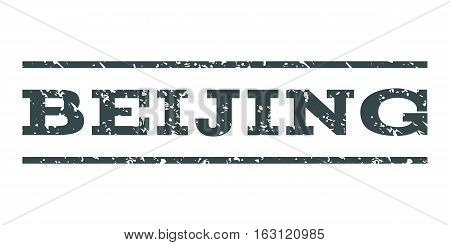 Beijing watermark stamp. Text tag between horizontal parallel lines with grunge design style. Rubber seal stamp with dirty texture. Vector soft blue color ink imprint on a white background.
