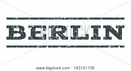 Berlin watermark stamp. Text caption between horizontal parallel lines with grunge design style. Rubber seal stamp with scratched texture. Vector soft blue color ink imprint on a white background.