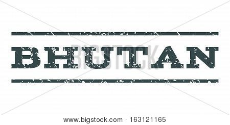 Bhutan watermark stamp. Text tag between horizontal parallel lines with grunge design style. Rubber seal stamp with scratched texture. Vector soft blue color ink imprint on a white background.
