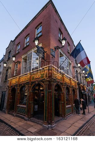Dublin, Ireland - 26th Dec 2016: Temple Bar historic district., Dublin, Ireland, Christmas decoration at The Quays Bar