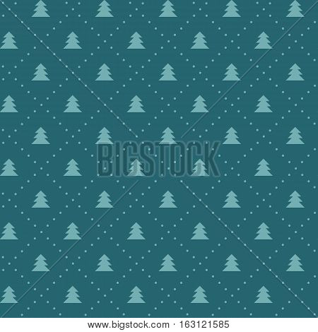 Naive Christmas vector seamless pattern with trees ans snow. Xmas simple texture. Christmas pattern. Christmas trees. Wrapping paper.