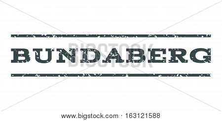 Bundaberg watermark stamp. Text tag between horizontal parallel lines with grunge design style. Rubber seal stamp with dust texture. Vector soft blue color ink imprint on a white background.