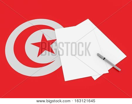 Notes On Tunisia: Blank Sheets of Paper With A Pen On Tunisian Flag 3d illustration