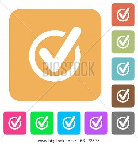 Checked data icons on rounded square vivid color backgrounds.